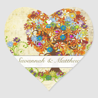 Enchanted Forest Side Branch Wedding Heart Sticker