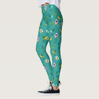 Enchanted Garden Watercolor Hummingbirds & Flowers Leggings