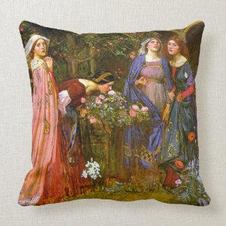 Enchanted Garden Waterhouse Fine Art Throw Pillow