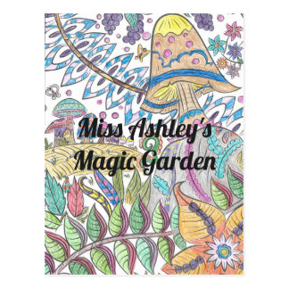 Enchanted Garden with Magic Mushrooms Postcard