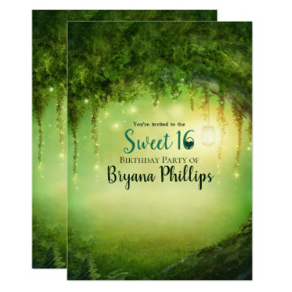 Enchanted Green Forest Lantern Sweet 16 Party Card