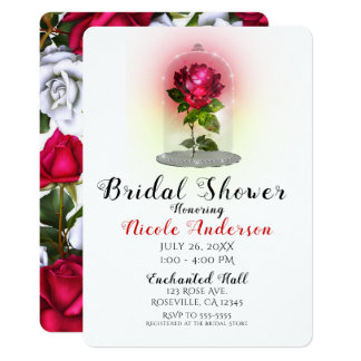 Enchanted Magical Red Rose Sparkly Bridal Shower Card
