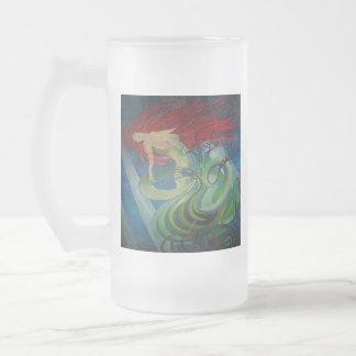 Enchanted Mermaid Frosted Glass Beer Mug
