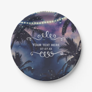 Enchanted Night Sky Evening Beach Lights Wedding Paper Plate
