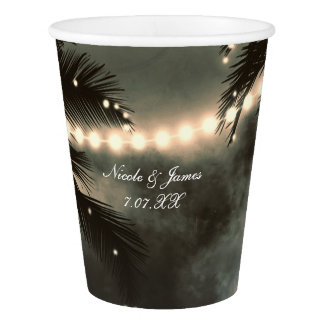 Enchanted Night Sky Palm Trees & String Lights Paper Cup