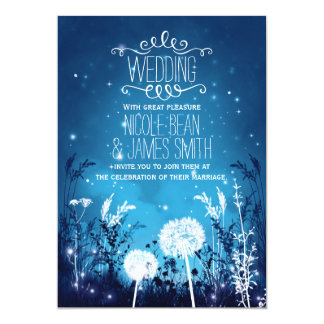Enchanted Night Sky Stars & Foliage Blue Wedding Card