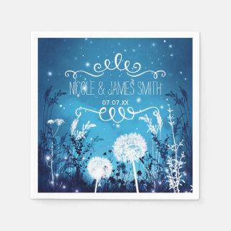 Enchanted Night Sky Stars & Foliage Blue Wedding Disposable Serviette