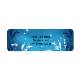 Enchanted Night Sky Stars & Foliage Blue Wedding Return Address Label
