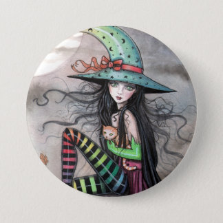 Enchanted October Witch Tabby Cat Pinback Button