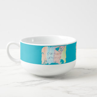 Enchanted rainbow and unicorn fairytale soup bowl with handle
