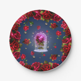 Enchanted Red Rose & Diamond Bling Elegant Party Paper Plate