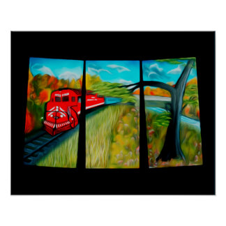 Enchanted Red Train Passage Art Poster