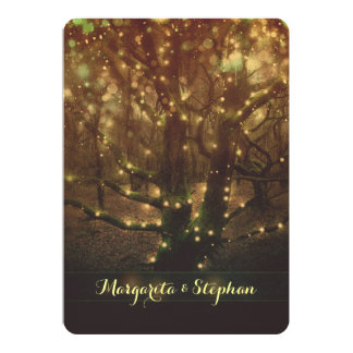 """Enchanted romantic forest lights bridal shower 5"""" x 7"""" invitation card"""