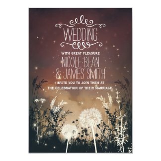 Enchanted Rustic Night Sky Stars & Foliage Wedding Card