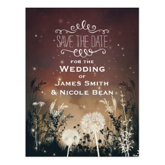 Enchanted Rustic Sky Stars & Foliage Save The Date Postcard