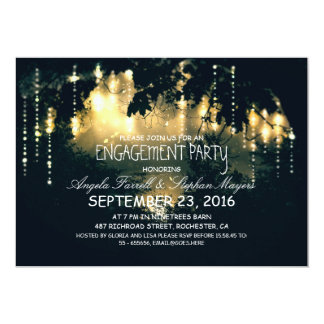 Enchanted string lights trees engagement party card