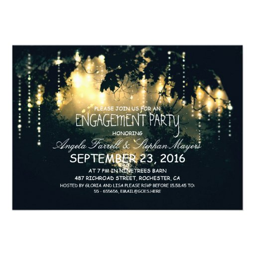 Enchanted string lights trees engagement party custom invites