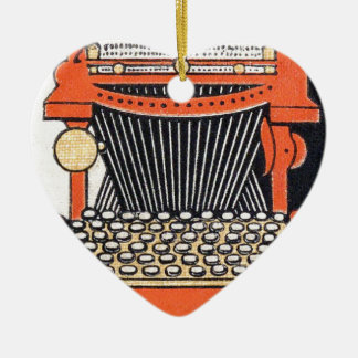 Enchanted Typewriter Ceramic Heart Decoration