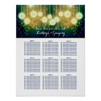Enchanted Wedding Seating Chart With Lanterns Poster