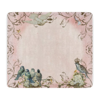 Enchanted Woodland Birds Dove Swirl Personalized Cutting Board