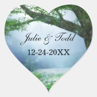 Enchanted Woodland Forest Wedding Heart Sticker