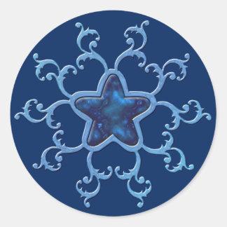 Enchanting, Blue, Star, Twinkle, Sparkle, Magic Classic Round Sticker