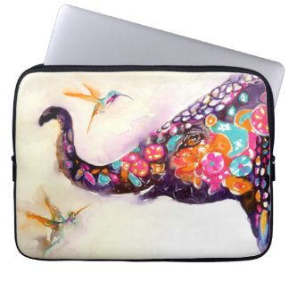 """Enchanting Friends"" Hummingbird & Elephant Laptop Sleeve"