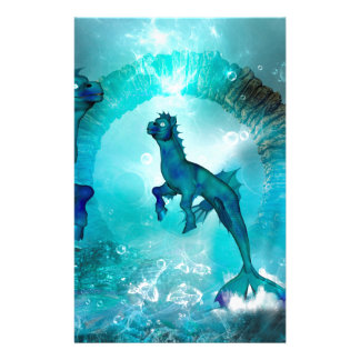 Enchanting seahorse in a fantasy underwater world personalized stationery
