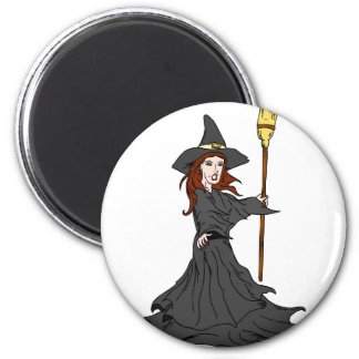 Enchanting Witch 6 Cm Round Magnet