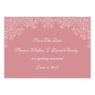 Enchantment White & Deep Rose Save The Date Business Card Templates