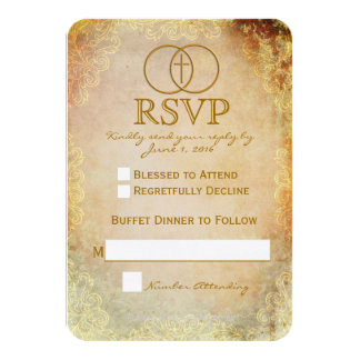 Encircled Cross Religious Wedding RSVP Card 2