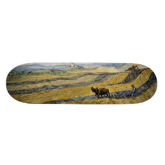 Enclosed Field with Ploughman by Vincent Van Gogh Skateboard