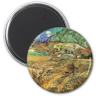 Enclosed Wheat Field w Peasant by Vincent van Gogh 6 Cm Round Magnet