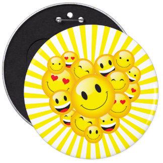 Encourage Positivity Uplifting Sun Smile Faces 6 Cm Round Badge