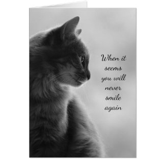 Encouragement Feel Better Sad Cat Animal Card