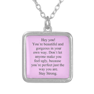 ENCOURAGEMENT SAYING STAY STRONG EXPRESSIONS SILVER PLATED NECKLACE