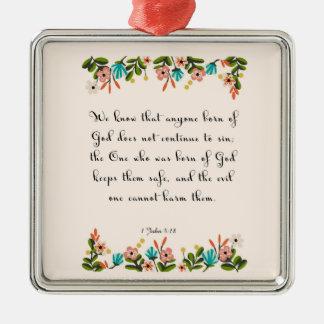 Encouraging Bible Verses Art - 1 John 5:18 Square Metal Christmas Ornament