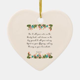 Encouraging Bible Verses Art - Isaiah 44:3 Ceramic Heart Decoration