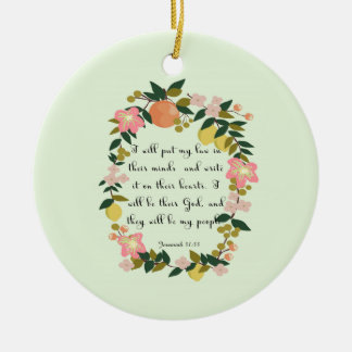 Encouraging Bible Verses Art - Jeremiah 31: 33 Double-Sided Ceramic Round Christmas Ornament