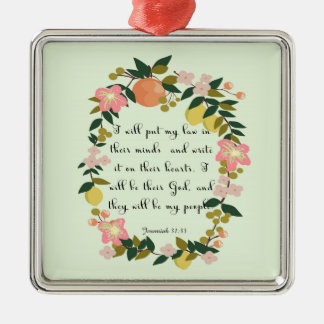 Encouraging Bible Verses Art - Jeremiah 31: 33 Silver-Colored Square Decoration