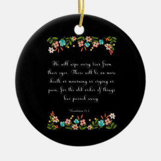 Encouraging Bible Verses Art - Revelation 21:4 Double-Sided Ceramic Round Christmas Ornament