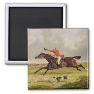 Encouraging Hounds, 1839 (oil on panel) Square Magnet