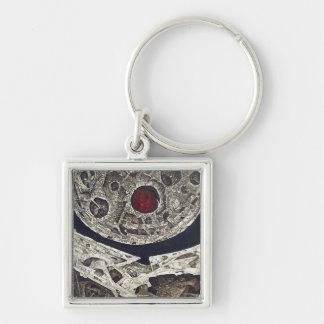 Encuentro Cosmico Silver-Colored Square Key Ring