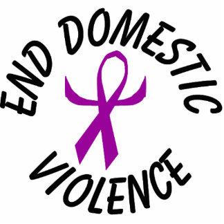 End Domestic Violence Ribbon Ornament (humanized) Photo Sculpture Decoration