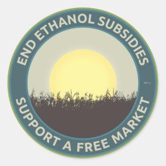 End Ethanol Subsidies Round Sticker