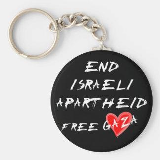 End Israeli Apartheid Free Gaza Basic Round Button Key Ring