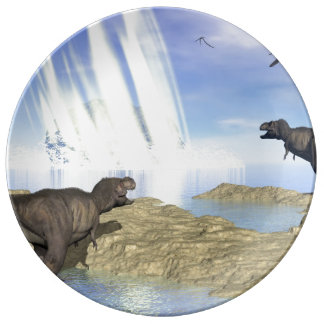 End of dinosaurs porcelain plate