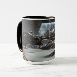 End of Fall coffee mug Middle Falls McCloud CA