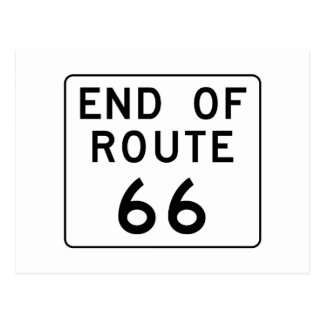 End of Route 66 Sign Postcard
