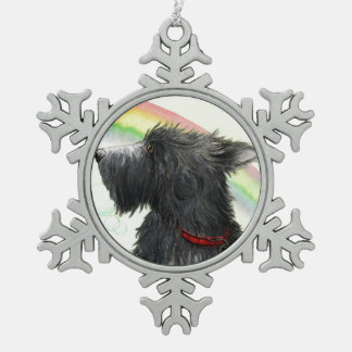 End of the rainbow Scottie Snowflake Pewter Christmas Ornament